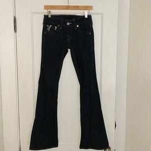 True Religion Joey Silver Foil Flare jeans, sz 27